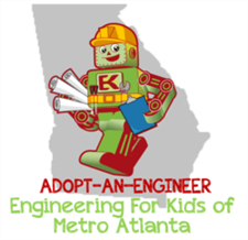 Adopt an Engineer logo with our mascot Kelvin