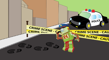 engineering for kids robot logo at a cartoon crime scene.