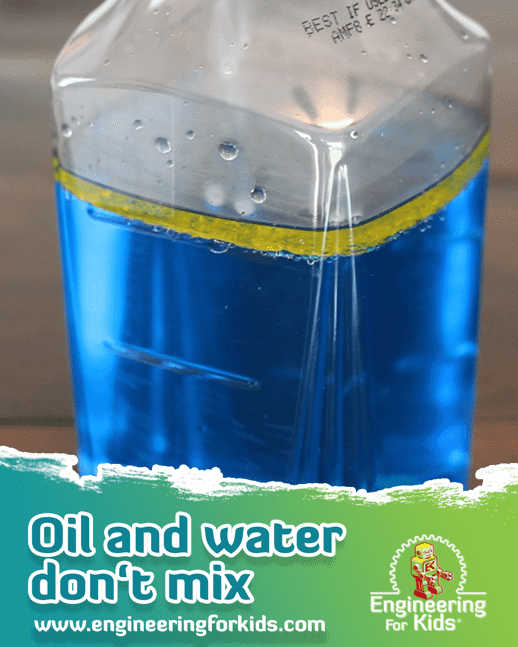 science experiment: oil and water don't mix