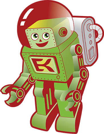 EFK astronaut mascot gently floating