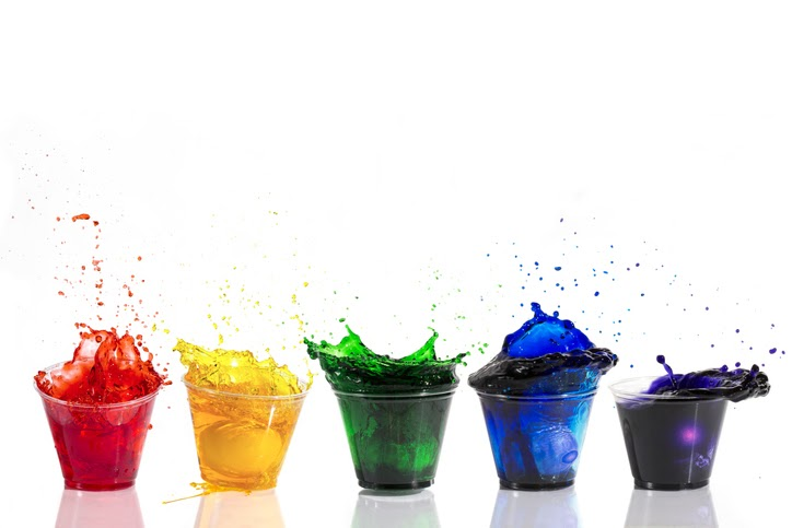five cups of food coloring