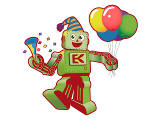 Robot Wearing Party Hat With Balloons
